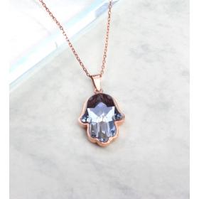 eJOYA Kristal Taşlı Fatma Eli Gümüş Kolye 84885