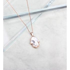 eJOYA Beyaz Kristal Taşlı Fatma Eli Gümüş Kolye 84887