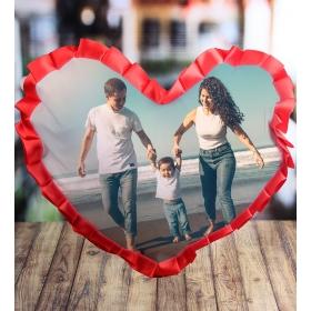 eJOYA Kişiye Özel Kalp Resimli Fırfırlı Yastık 85302