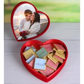 eJOYA Kişiye Özel Fotoğraflı Kalp Kutulu Seni Sevmemin 30 Sebebi Çikolata 87243