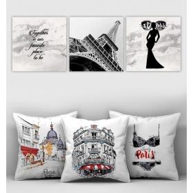 eJOYA Özel Tasarımlı Dekoratif 3lü Kırlent Kılıfı ve Tablo Seti 90332