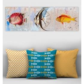 eJOYA Özel Tasarımlı Dekoratif 3lü Kırlent Kılıfı ve Saatli Tablo Seti 90342
