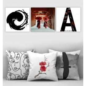 eJOYA Özel Tasarımlı Dekoratif 3lü Kırlent Kılıfı ve Saatli Tablo Seti 90350
