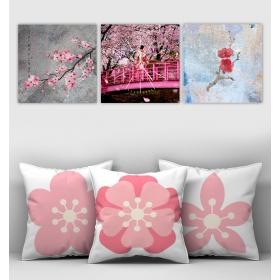 eJOYA Özel Tasarımlı Dekoratif 3lü Kırlent Kılıfı ve Saatli Tablo Seti 90351