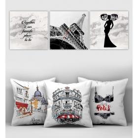 eJOYA Özel Tasarımlı Dekoratif 3lü Kırlent Kılıfı ve Saatli Tablo Seti 90352