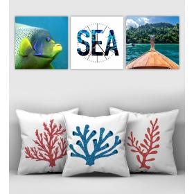 eJOYA Özel Tasarımlı Dekoratif 3lü Kırlent Kılıfı ve Saatli Tablo Seti 90355