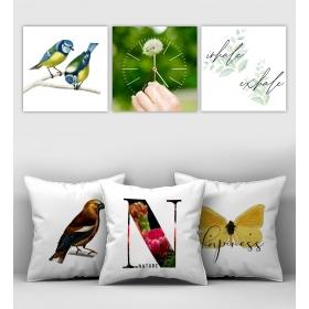 eJOYA Özel Tasarımlı Dekoratif 3lü Kırlent Kılıfı ve Saatli Tablo Seti 90357