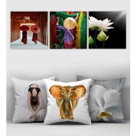 eJOYA Özel Tasarımlı Dekoratif 3lü Kırlent Kılıfı ve Saatli Tablo Seti 90371