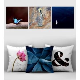 eJOYA Özel Tasarımlı Dekoratif 3lü Kırlent Kılıfı ve Saatli Tablo Seti 90375