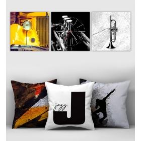eJOYA Özel Tasarımlı Dekoratif 3lü Kırlent Kılıfı ve Saatli Tablo Seti 90376