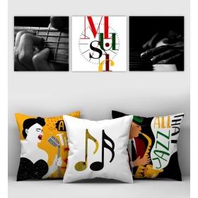 eJOYA Özel Tasarımlı Dekoratif 3lü Kırlent Kılıfı ve Saatli Tablo Seti 90378