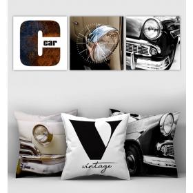 eJOYA Özel Tasarımlı Dekoratif 3lü Kırlent Kılıfı ve Saatli Tablo Seti 90380