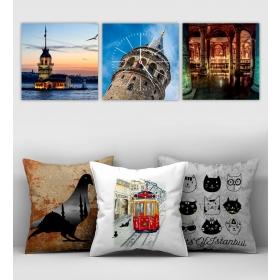 eJOYA Özel Tasarımlı Dekoratif 3lü Kırlent Kılıfı ve Saatli Tablo Seti 90389