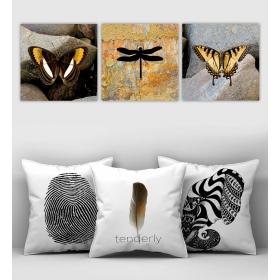 eJOYA Özel Tasarımlı Dekoratif 3lü Kırlent Kılıfı ve Tablo Seti 90398