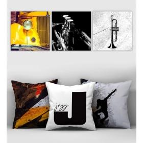 eJOYA Özel Tasarımlı Dekoratif 3lü Kırlent Kılıfı ve Tablo Seti 90409