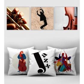 eJOYA Özel Tasarımlı Dekoratif 3lü Kırlent Kılıfı ve Tablo Seti 90412