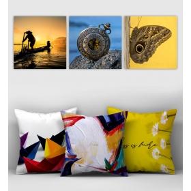 eJOYA Özel Tasarımlı Dekoratif 3lü Kırlent Kılıfı ve Tablo Seti 90417