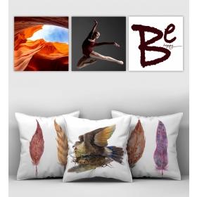 eJOYA Özel Tasarımlı Dekoratif 3lü Kırlent Kılıfı ve Tablo Seti 90418
