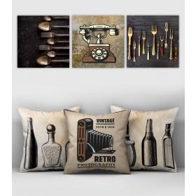 eJOYA Özel Tasarımlı Dekoratif 3lü Kırlent Kılıfı ve Tablo Seti 90421
