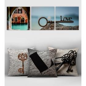eJOYA Özel Tasarımlı Dekoratif 3lü Kırlent Kılıfı ve Tablo Seti 90423