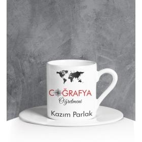 eJOYA Kişiye Özel Coğrafya Öğretmeni Türk Kahvesi Fincanı 90689