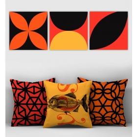 eJOYA Özel Tasarımlı Dekoratif 3lü Kırlent Kılıfı ve Tablo Seti 90747