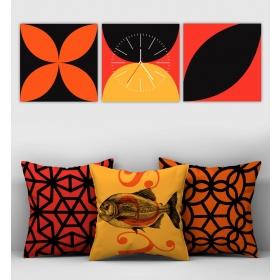 eJOYA Özel Tasarımlı Dekoratif 3lü Kırlent Kılıfı ve Saatli Tablo Seti 90800
