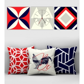 eJOYA Özel Tasarımlı Dekoratif 3lü Kırlent Kılıfı ve Saatli Tablo Seti 90801