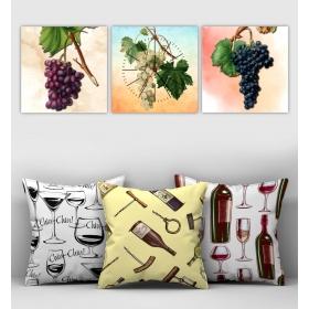 eJOYA Özel Tasarımlı Dekoratif 3lü Kırlent Kılıfı ve Saatli Tablo Seti 90809