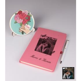 Sevgililer Gününe Özel Kişiye Özel Karikatür Fotoğraflı Defter Kalem Kart Seti 93306