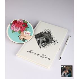 Sevgililer Gününe Özel Kişiye Özel Karikatür Fotoğraflı Defter Kalem Kart Seti 93310