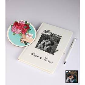 Sevgililer Gününe Özel Kişiye Özel Karikatür Fotoğraflı Defter Kalem Kart Seti 93311