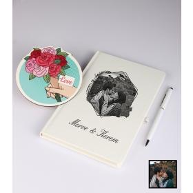 Sevgililer Gününe Özel Kişiye Özel Karikatür Fotoğraflı Defter Kalem Kart Seti 93312