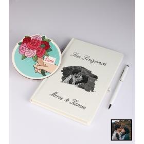 Sevgililer Gününe Özel Kişiye Özel Karikatür Fotoğraflı Defter Kalem Kart Seti 93313