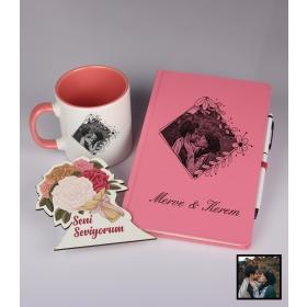 Sevgililer Gününe Özel Kişiye Özel Karikatür Fotoğraflı Defter Kalem Kart Kupa Seti 93329