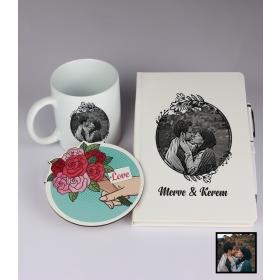 Sevgililer Gününe Özel Kişiye Özel Karikatür Fotoğraflı Defter Kalem Kart Kupa Seti 93333