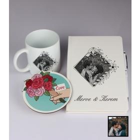 Sevgililer Gününe Özel Kişiye Özel Karikatür Fotoğraflı Defter Kalem Kart Kupa Seti 93334