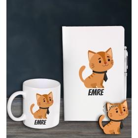 eJOYA Kişiye Özel Cat Lovers Defter Kalem Kupa Ve Anahtarlık Hediye Seti 94620