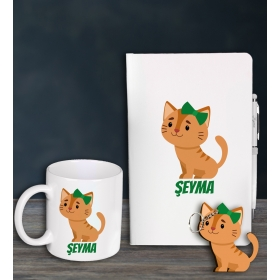eJOYA Kişiye Özel Cat Lovers Defter Kalem Kupa Ve Anahtarlık Hediye Seti 94621