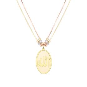 eJOYA 14 Ayar Altın Çift Zincirli Maaşallah Kolye 94957