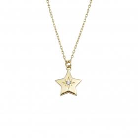 eJOYA 14 Ayar Altın Taşlı Tasarım Yıldız Kolye 95121