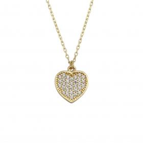 eJOYA 14 Ayar Altın Taşlı Kalp Kolye 95131
