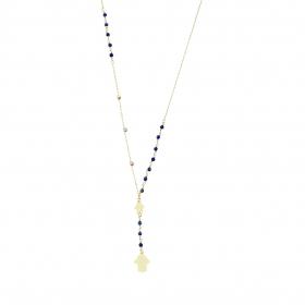 eJOYA 14 Ayar Altın Mavi Taşlı Dorika Sallantılı Kolye 95155