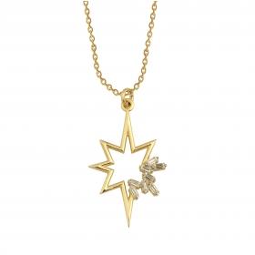 eJOYA 14 Ayar Altın Baget Taşlı Kutup Yıldızı Kolye 95215
