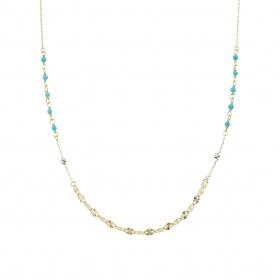 eJOYA 14 Ayar Altın Parıltılı Mavi Taşlı Kolye 95250
