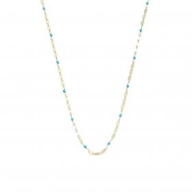 eJOYA 14 Ayar Altın Mavi Taşlı Pullu Zincir Kolye 95278