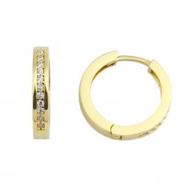 eJOYA 14 Ayar Altın Taşlı Halka Küpe 95575