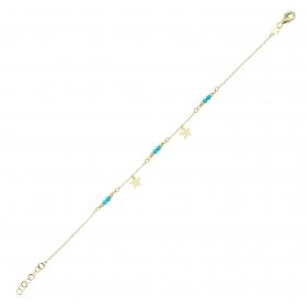 eJOYA 14 Ayar Altın Mavi Taşlı Sallantılı Yıldız Bileklik 97651