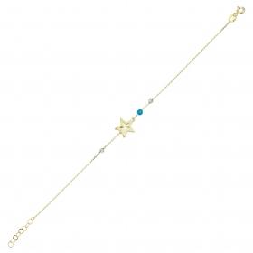 eJOYA 14 Ayar Altın Parıltılı Yıldız Bileklik 97655