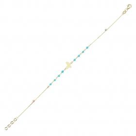 eJOYA 14 Ayar Altın Mavi Taşlı Kelebek Bileklik 97661